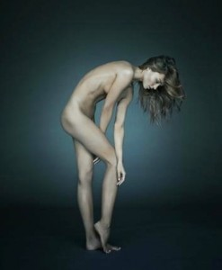 naked woman on dark room